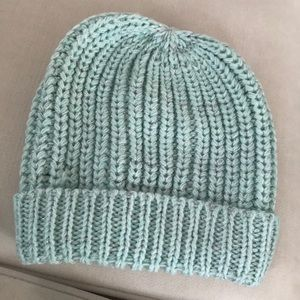 Silver and baby blue knitted beanie